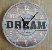 """HOMETIME RUSTIC ROUND WALL CLOCK """"THE UNKOWN DREAM"""" METAL & WOOD EFFECT"""