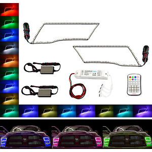 Multi-Color Changing LED RGB Headlamp Halo Ring M7 Set For 09-16 Dodge Ram Sport
