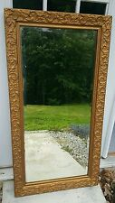 Antique Gold Gilt Victorian Long Mirror Wall Dresser Buffet Mantel Full Floral