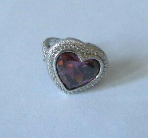 Judith Ripka Sterling Silver Pink Tourmaline & Diamonique Heart Ring Size 8