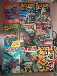9x Vintage Action Annual Books, From £2.99 Each With Free Postage, Trusted Shop