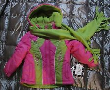 NWT ROTHSCHILD 2 pc PINK GREEN WINTER JACKET COAT and SCARF Toddler Girl 2T