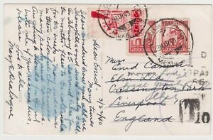 POSTAGE DUE POSTCARD, 1940 FROM MEXICO TO LIVERPOOL