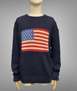 POLO RALPH LAUREN USA Flag Sweater Size L Men's Navy Blue Cotton Knit Pullover