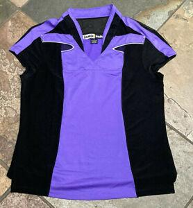 0621 JAMIE SADOCK Small Black & Purple Studded Detail Cap Sleeve Golf Top B