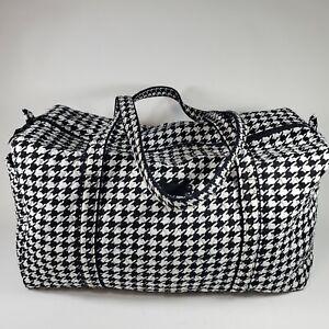 "Vera Bradley Large Travel Duffel Bag Black and White Houndstooth 21""L Rare EUC"
