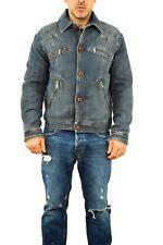 Trussardi Jeans Vintage 90s Denim BLUE Jacket Coat Lined L Western Casuals SUPER