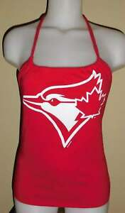 Ladies Toronto Blue Jays Reconstructed MLB Baseball Shirt Halter Top DiY
