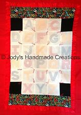 HANDMADE BABY QUILT /EMBROIDERED ABC  29 X 45