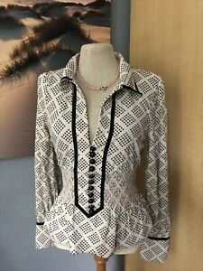 by Malene Birger 50er Retro Shirt Bluse 50´s Polka dots 34 36 S cream black