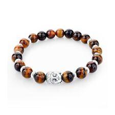 Bracelet Pierre Naturelle Oeil de Tigre Tête de Bouddha Métal Argenté Bouddhiste