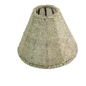 """Beige Beaded Candle or Lamp Shade 5"""" Metal Frame Candle Cover Topper"""