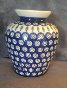 Boleslawiec Polish Pottery, Blue Rose Peacock, Vase 8 inch Hand Painted