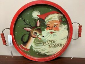 "Raz Imports 18"" Round Vintage Christmas Wood Tray with handles -Santa & Reindeer"