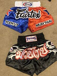 Fairtex / Twins Special MUAY THAI KICK BOXING Trunks MMA SIZE L ADULT BLACK Lot