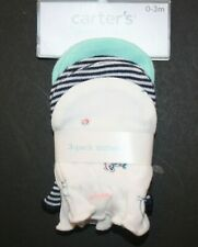 New Carter's Boys 3 Pack Baby Mittens sz 0-3 months NWT 100% Cotton Sloth