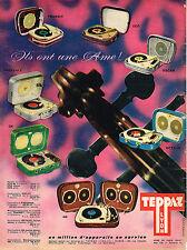 PUBLICITE ADVERTISING 124  1960  TEPPAZ  tourne-disque éléctrophone