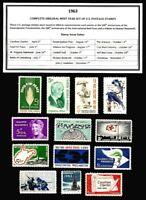 1963 COMPLETE YEAR SET OF MINT NH (MNH) VINTAGE U.S. POSTAGE STAMPS