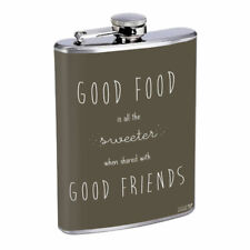 Good Food Friends Em1 Flask 8oz Stainless Steel Hip Drinking Whiskey