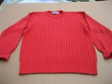 Burberry London Mens L Thick Cotton Orange Cable Knit Sweater Made in Scotland