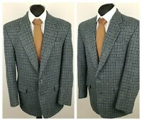 "Commander Mens Vintage Harris Tweed Blazer Jacket Green Wool Check CHEST 40""-42"""