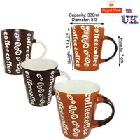Coffee Mugs with Coffee style pattern Oval Shaped  Handle Espresso Cappuccino