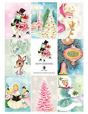 8 Christmas Vintage Retro Hang Tags - Scrapbooking, Paper Crafts (130)