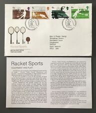 GB Royal Mail First Day Cover 1977 Racket Sports. Tennis, Squash, Badminton +