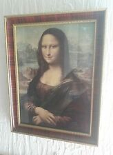 Vintage Mona Lisa lady print glazed and framed picture