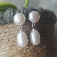 Perle Ohrringe,7-8mm weißes Süßwasser Perle Ohrringe