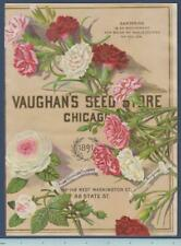 1891 Vaughans Seed Catalog Cover Litho Antique Original ~ Chicago ~ Carnations
