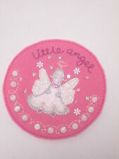 Pink Girl Baby Little Angel Handmade Christmas Card Embroidered Badge 88mm #11E8