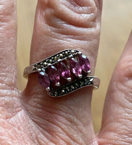 Sterling Silver Pink Sapphire Ring Size 8