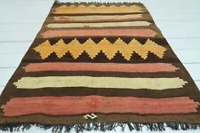 "Vintage Turkish Small Kilim Doormat Bathmat Decor Wool Rugs Carpet Tapis 39""X50"""
