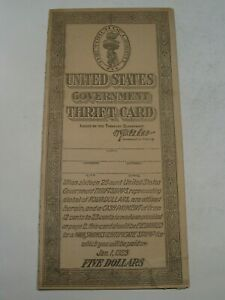 US Government WWI Era Thrift Card w/ 10 Stamps Excellent Condition.  #33