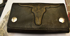 Western 3D Longhorn Wallet Chain Geldbörse Kette Naked Leather Rockabilly neu