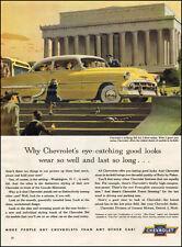 1953 classic car AD '53 Chevrolet Bel Air yellow sedan Lincoln Memorial   033017