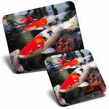 Mouse Mat & Coaster Set - Koi Carp Pond Fish Japanese  #21765