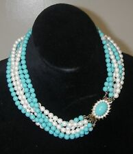 Vintage 1950s JEWELRY Parts or Repair 6-Strand Collar Necklace Whie/Blue bead