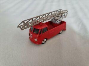 Modellauto Tekno VW Bus Made in Denmark Feuerwehr Leiterwagen Drehleiter neuw.