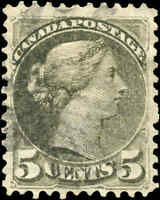 Canada Used 1876 5c F+ Scott #38a Perf 11.5x12 Small Queen Stamp