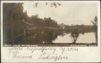 Woodstock CT Boat House on the Lake c1910 Real Photo Postcard