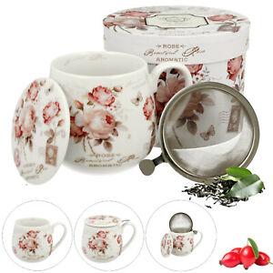 Fritz Frosch Teetasse mit Sieb und Deckel Porzellan