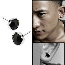 Fashion 1Pair Mens Round Black Agate Silver Ear Studs Earrings Unisex Jewelry GT