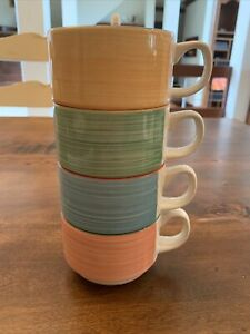 STEELITE England stackable Expresso cups Lot Of 4 Colorful Green Blue Yellow