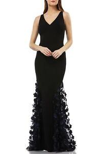 CARMEN MARC VALVO Black 3D Navy Floral Embroidered Skirt Mermaid V-Neck Gown 8