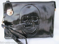 3 DESIGNS:WOMENS DESIGNER STYLE FAUX SOFT LEATHER METAL SKULL CHAIN PUNK HANDBAG