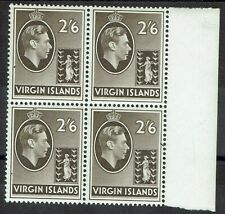 BRITISH VIRGIN ISLANDS 1938 KGVI BADGE 2/6 MNH ** BLOCK