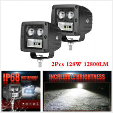 1 Pair 3 in 128W LED Work Light Bars Spot Flood Combo Offroad Fog Driving Lights