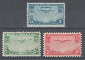US Sc C20-C22 MLH. 1935-37 China Clipper Over the Pacific, complete set, fresh